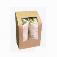 Braune Schachtel mit Fenster für Wraps  95x54mm H152mm